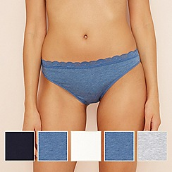 The Collection - 5 pack lace cotton blend high leg knickers