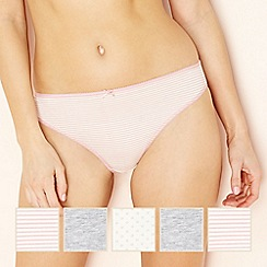 The Collection - 5 pack pale pink spotted and striped cotton blend high leg briefs