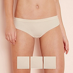 The Collection - 3 pack natural microfibre seamless Brazilian knickers
