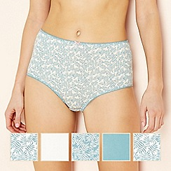The Collection - 5 pack blue leaf print full brief knickers