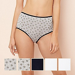 The Collection - 5 pack multi-coloured daisy print cotton blend full brief knickers