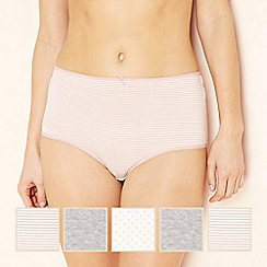 The Collection - 5 pack pale pink spotted and striped full brief knickers