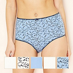 The Collection - 5 pack pale blue bird print full brief knickers
