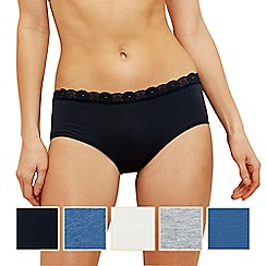 The Collection - 5 pack lace marl midi knickers