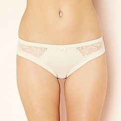 The Collection - Beige floral lace Brazilian knickers