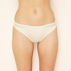 The Collection - Natural spot print geometric lace seamless Brazilian knickers