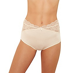The Collection - Natural microfibre lace seamless full brief knickers