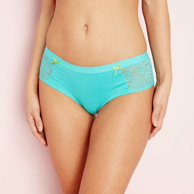 The Collection Turquoise lace cotton blend shorts | Debenhams