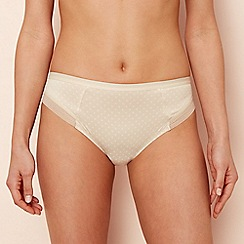 The Collection - Natural spot print geometric lace and microfibre high leg knickers