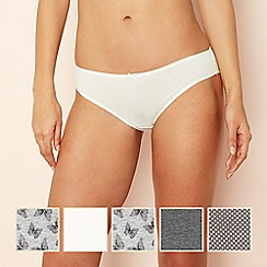 The Collection - 5 pack cotton blend bikini knickers