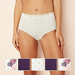 The Collection - 5 pack cotton blend lace full brief knickers