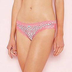 The Collection - Bright pink petal print microfibre lace Brazilian knickers
