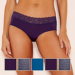The Collection - 5 pack microfibre lace shorts