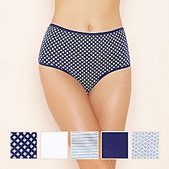 The Collection - 5 pack assorted cotton blend full brief knickers