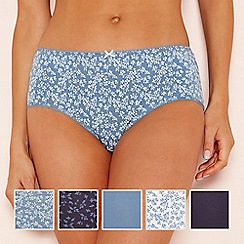 The Collection - 5 pack cotton blend floral print midi briefs