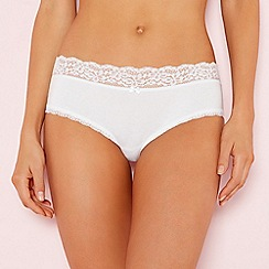 The Collection - White lace trim cotton shorts