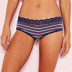 The Collection - Navy stripe lace cotton shorts