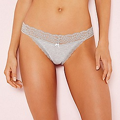 The Collection - Grey lace trim cotton thong