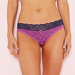 The Collection - Mauve spot print lace trim cotton bikini knickers