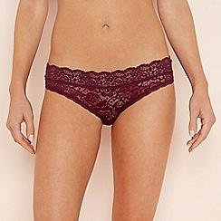 The Collection - Dark purple floral lace bikini briefs