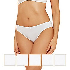 Debenhams - Pack of five cotton white plain high leg briefs