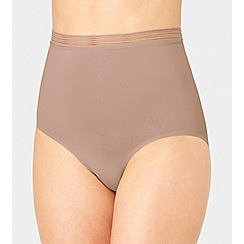 Triumph - Natural striped mesh 'Infinite Sensation' high waisted shapewear thong