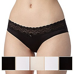 Debenhams - 5 pack black, natural and white lace trim no VPL bikini briefs