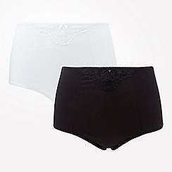 The Collection - 2 pack black and white light control tummy shaping knickers