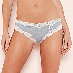 The Collection - Grey Lace Trim 'C' Monogram Cotton Bikini Knickers