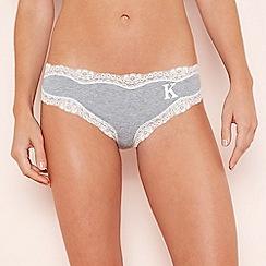 The Collection - Grey lace trim 'K' cotton bikini knickers