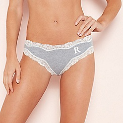 The Collection - Grey Lace Trim 'R' Monogram Cotton Bikini Knickers