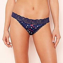 The Collection - Navy daisy print lace trim thong