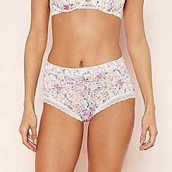 The Collection - Cream Floral Print Lace Shorts