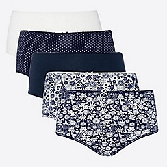 The Collection - Pack of 5 Multi Cotton Rich Midi Knickers