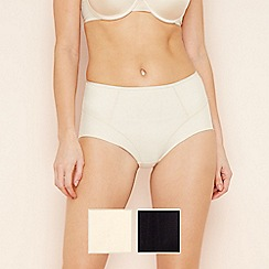 Debenhams - Pack of two black and white shaping high leg briefs