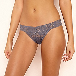 The Collection - Grey Floral Lace Thong