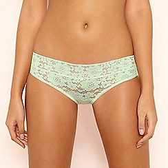 The Collection - Pale Green Floral Lace Bikini Knickers