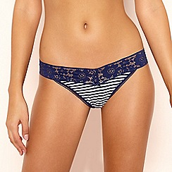 The Collection - Navy Striped Floral Lace Thong