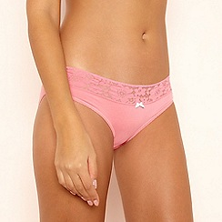 The Collection - Pink Lace Trim Bikini Knickers