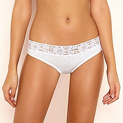 The Collection - White Lace Trim Bikini Knickers