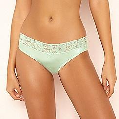 The Collection - Green Lace Microfibre Bikini Knickers