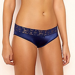 The Collection - Navy Lace Microfibre Bikini Knickers