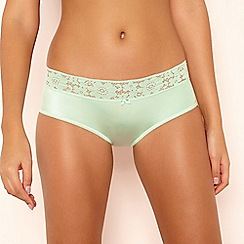 The Collection - Green Microfibre Lace Shorts