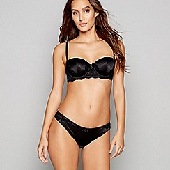 B by Ted Baker - Black jacquard satin padded balcony bra