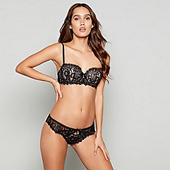 Reger by Janet Reger - Black lace 'Stellar' underwired padded balcony bra