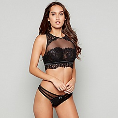 Reger by Janet Reger - Black lace 'Stellar' underwired non-padded crop top