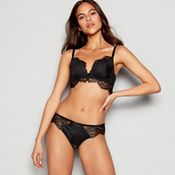 Reger by Janet Reger - Black lace mesh  Mia  underwired padded plunge  push-up bra 0a71d0591