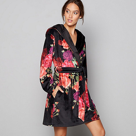 B by Ted Baker Black floral print \'Juxtapose Rose\' dressing gown ...