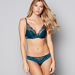 Nine by Savannah Miller - Green lace underwired padded plunge bra