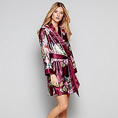 B By Ted Baker Dark Pink Fl Print Satin Pure Peony Dressing Gown